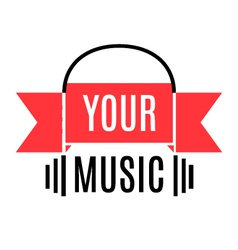 Music logo with stylized headphones and ribbon vector