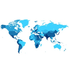 Blue world map with countries vector