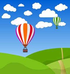 Cartoon retro air balloon on blue sky and green vector