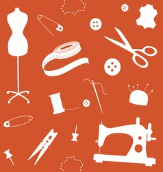 Orange seamless pattern with sewing machine and vector