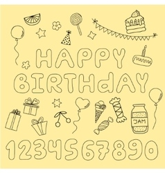 Hand drawn set with birthday cake balloons gift vector