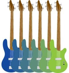 Colourful bass guitars vector