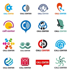 Big set of logos call center vector