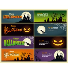 Happy halloween set banner vector