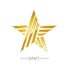 Luxury gold star design element on white vector