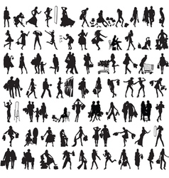 Set of silhouettes of shoppers vector