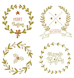 Christmas wreaths set vector