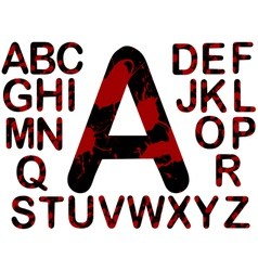 Letters black and red splats vector