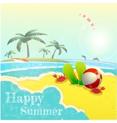 Beautiful seaside view poster background vector