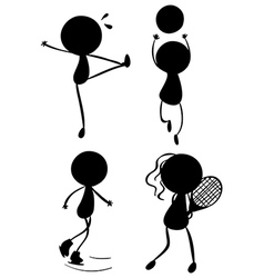 Silhouettes of people playing with the different vector