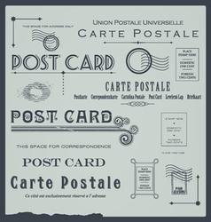 Postcard backside design elements collection vector