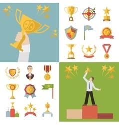 Flat design awards symbols and trophy icons set vector