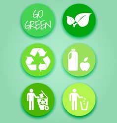 Flat-green-sticker-set vector