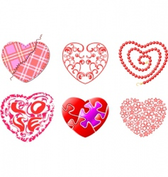 Various hearts set vector