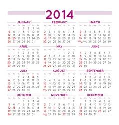 2014 squared calendar vector