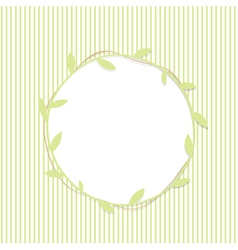 Green leaf round frame vector