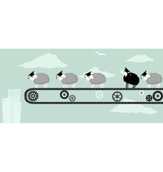 Black sheep in college vector