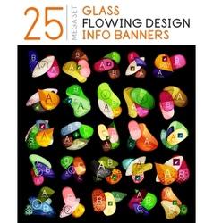 Flowing shapes option banner mega collection vector