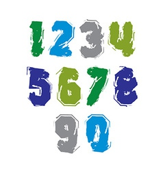 Handwritten colorful freak numbers stylish digits vector