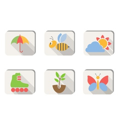 Spring icons buttons isolated on white vector