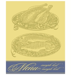 Restaurant menu design with chicken and fish vector