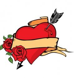 Heart impaled by arrow vector