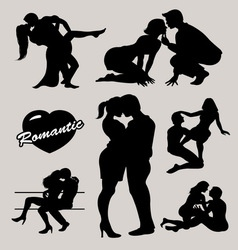 Romantic love couple silhouette 2 vector