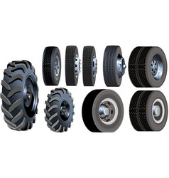 Truck wheels set vector