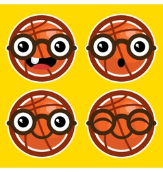Cartoon basketballs with eyeglasses vector