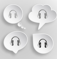 Headphones white flat buttons on gray background vector