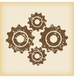 Grungy cogs icon vector