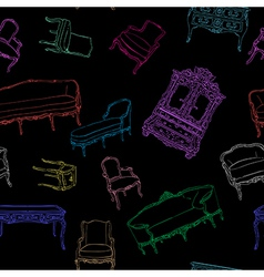 Rococo furniture pattern on black vector