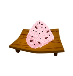 Sekihan onigiri with red beans on geta plate vector