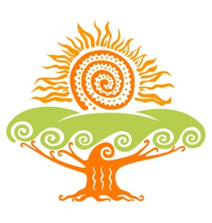 Sun with tree vector