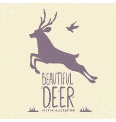 Deer jumping vector