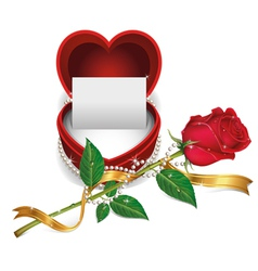 White card in red velvet box and beautiful roses vector