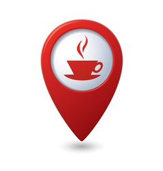 Map pointer with hot coffee cup icon vector