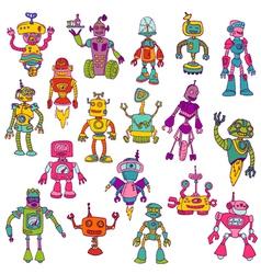 Set of robots - hand drawn doodles vector