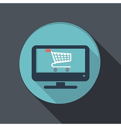 Flat icon monitor with symbol shopping cart vector