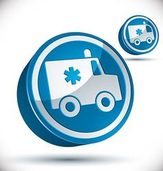 Ambulance emergency 3d car icon vector