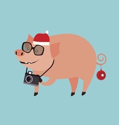 Holiday with pig vector