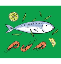 Fish and shrimps on green backgruond vector