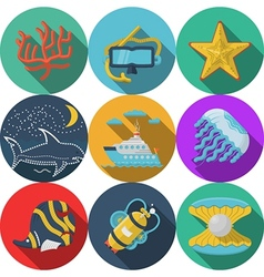 Flat color icons for sea leisure vector