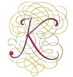 Script letter k vector