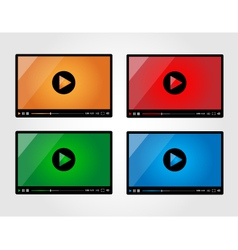 Video player for web in different colors vector