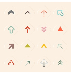 Flat design arrows set on recycled paper bac vector