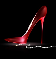 Red shoe and beads vector
