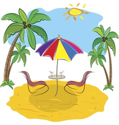 Beach with palm trees vector