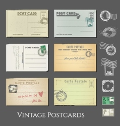 Antique postcards collection vol 2 vector