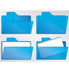Blue folder icons vector